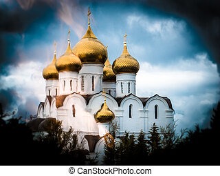 Beautiful Christian church in Yaroslavl.