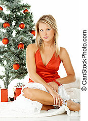Beautiful Christmas 1 - Beautiful young woman next to ...