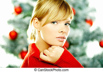 Beautiful Christmas 2 - Beautiful young woman next to ...