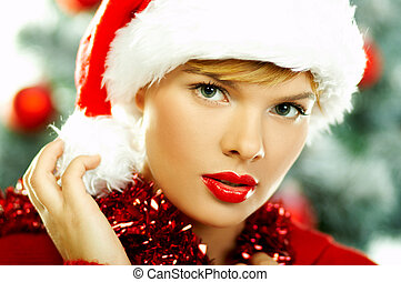 Beautiful Christmas 2 - Beautiful young woman wearing santas...
