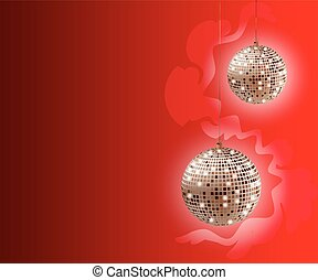 Beautiful Christmas background with disco balls .