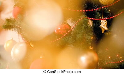 Beautiful Christmas background with golden blurred bokeh and...