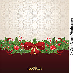 Beautiful Christmas background with mistletoe, bow and pine...