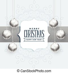 beautiful christmas background with silver balls