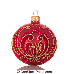 Beautiful Christmas ball-toy decorated with gold pattern, isolated on white