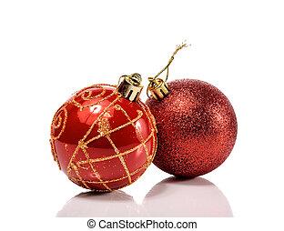 Beautiful christmas balls, isolated on white background