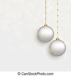 beautiful christmas balls on snowy background