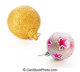 Beautiful christmas balls with glitter ornament isolated on white background
