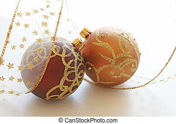 Beautiful  christmas balls with ribbon