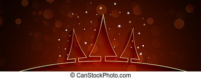 beautiful christmas banner with golden tree design