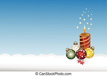 Beautiful christmas candle and ball on blue background