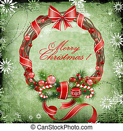 Beautiful Christmas card in vintage style with a picture of a Christmas wreath.