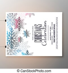 beautiful christmas celebration flyer with snowflakes template design