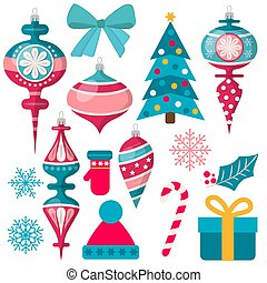 beautiful Christmas decoration collection isolated on white