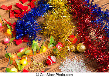 beautiful Christmas decorations on wooden table