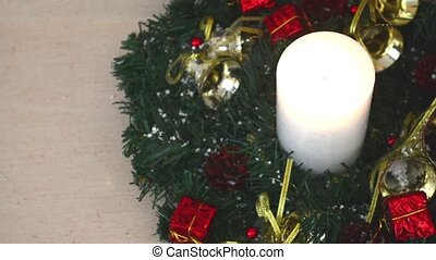 Beautiful Christmas Decorations With Lit Candle