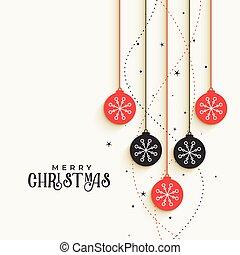 beautiful christmas decorative balls greeting design