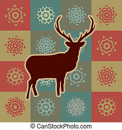 Beautiful Christmas deer with snowflakes. EPS 8