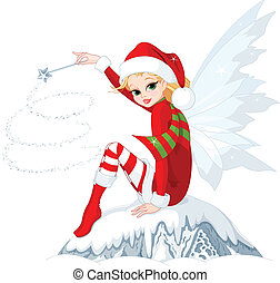 Christmas fairy - Beautiful Christmas fairy sitting on ice...