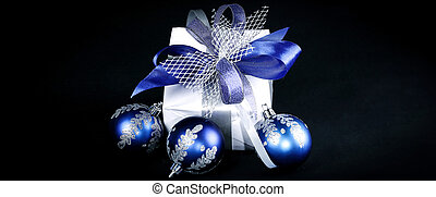 beautiful Christmas gift isolated on a black background.