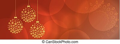 beautiful christmas holidays background with golden snowflakes balls