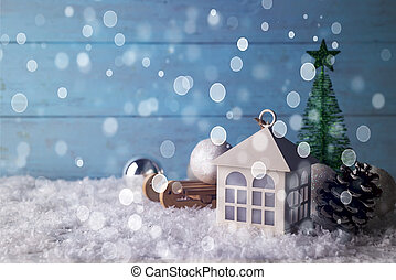 beautiful Christmas house with fir three on wooden snow...