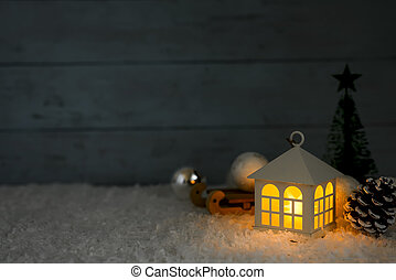 beautiful Christmas house with fir three on wooden...