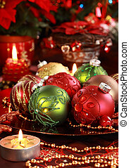 Beautiful Christmas ornaments as table decoration