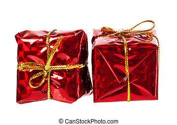 beautiful christmas red gifts isolated on white background
