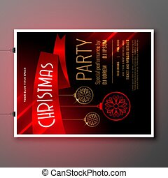beautiful christmas red party flyer template with ribbon