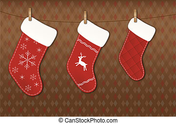Christmas socks - Beautiful Christmas socks on clothesline