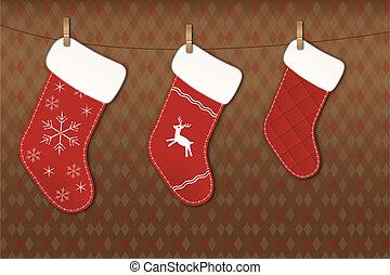 Christmas socks - Beautiful Christmas socks on clothesline