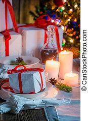Beautiful Christmas table setting for Christmas eve