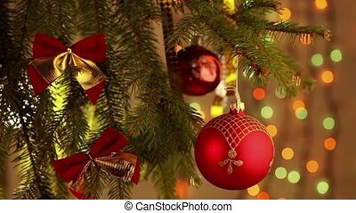 beautiful Christmas tree decorated with colorful baubles