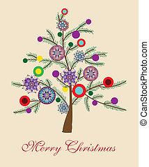 Beautiful Christmas tree illustration. Christmas Card