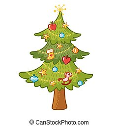 Beautiful Christmas tree on a white background.
