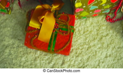 beautiful Christmas tree with gifts and toys