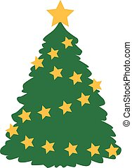 Beautiful christmas tree with stars
