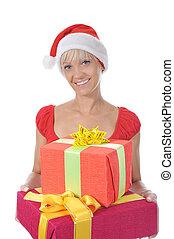 Beautiful christmas woman.