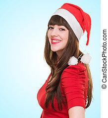 Beautiful christmas woman smiling