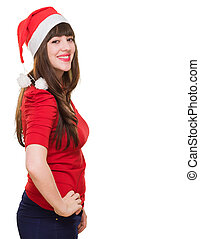 Beautiful christmas woman smiling