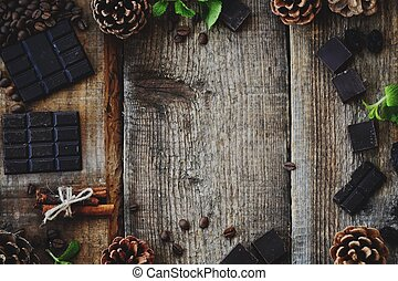 Beautiful Christmas wooden background with pine cones