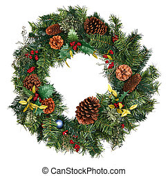 Christmas Wreath Isolated - Beautiful Christmas Wreath...