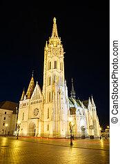 Beautiful church of St. Matthias with night illumination. Budapest