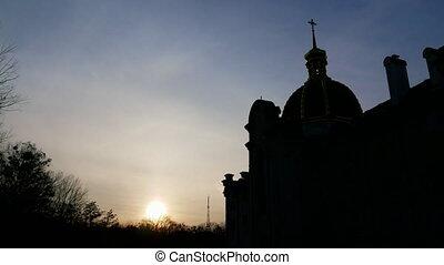 Beautiful church, sky time lapse 4k