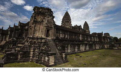 Beautiful cinematic timelapse Angkor Wat . UNESCO World Cultural Heritage Khmer Culture. Monument of ancient civilization