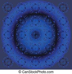 Beautiful Circle Dark Blue Floral