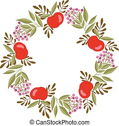 Beautiful circle frame made with apples