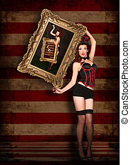 Beautiful Circus Themed Pin Up Sexy Girl - Circus Themed Pin...