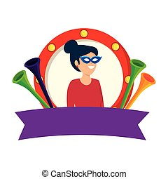 beautiful circus woman with mask and trumpets in emblem